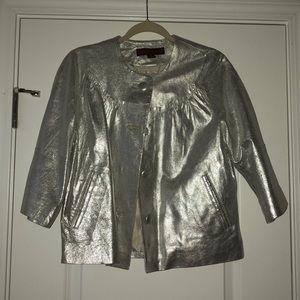 Margaret Godfrey Metallic Silver Leather Jacket